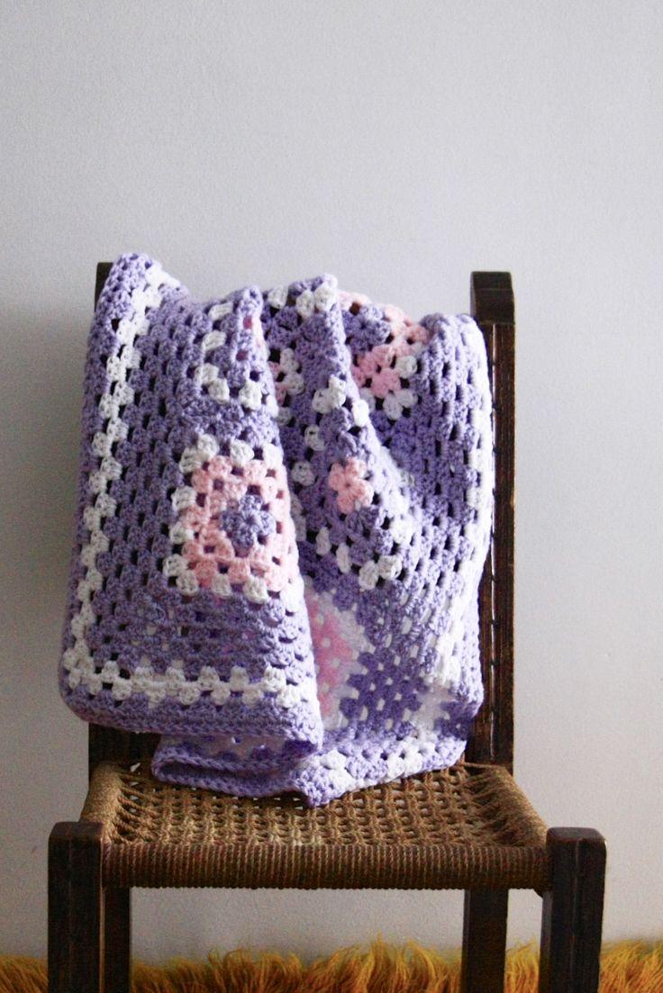Baby blanket, stroller blanket, pram blanket, travel size blanket, granny baby blanket, lilac baby blanket, the Petite, vegan friendly