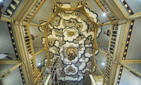 Ornate ceiling of Sam Wanamaker Playhouse Globe #theatre London Photograph David Levene