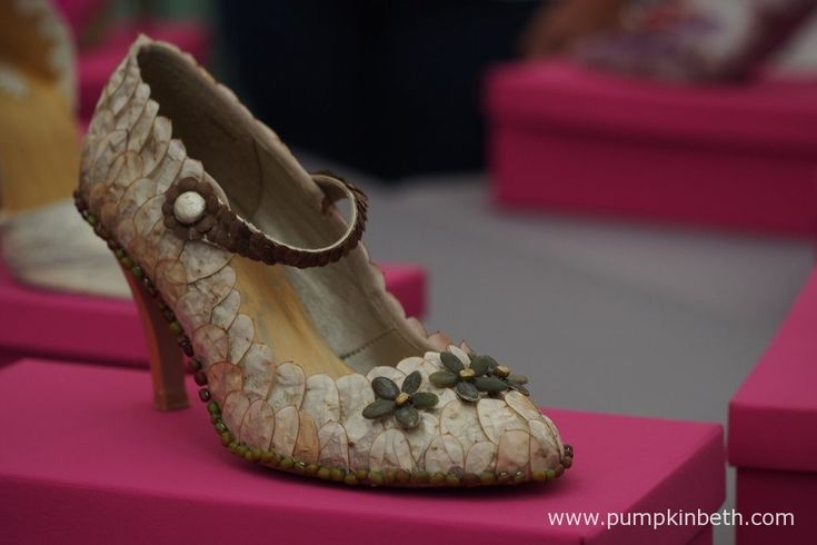 These beautiful shoes have been exquisitely decorated with honesty seed cases…