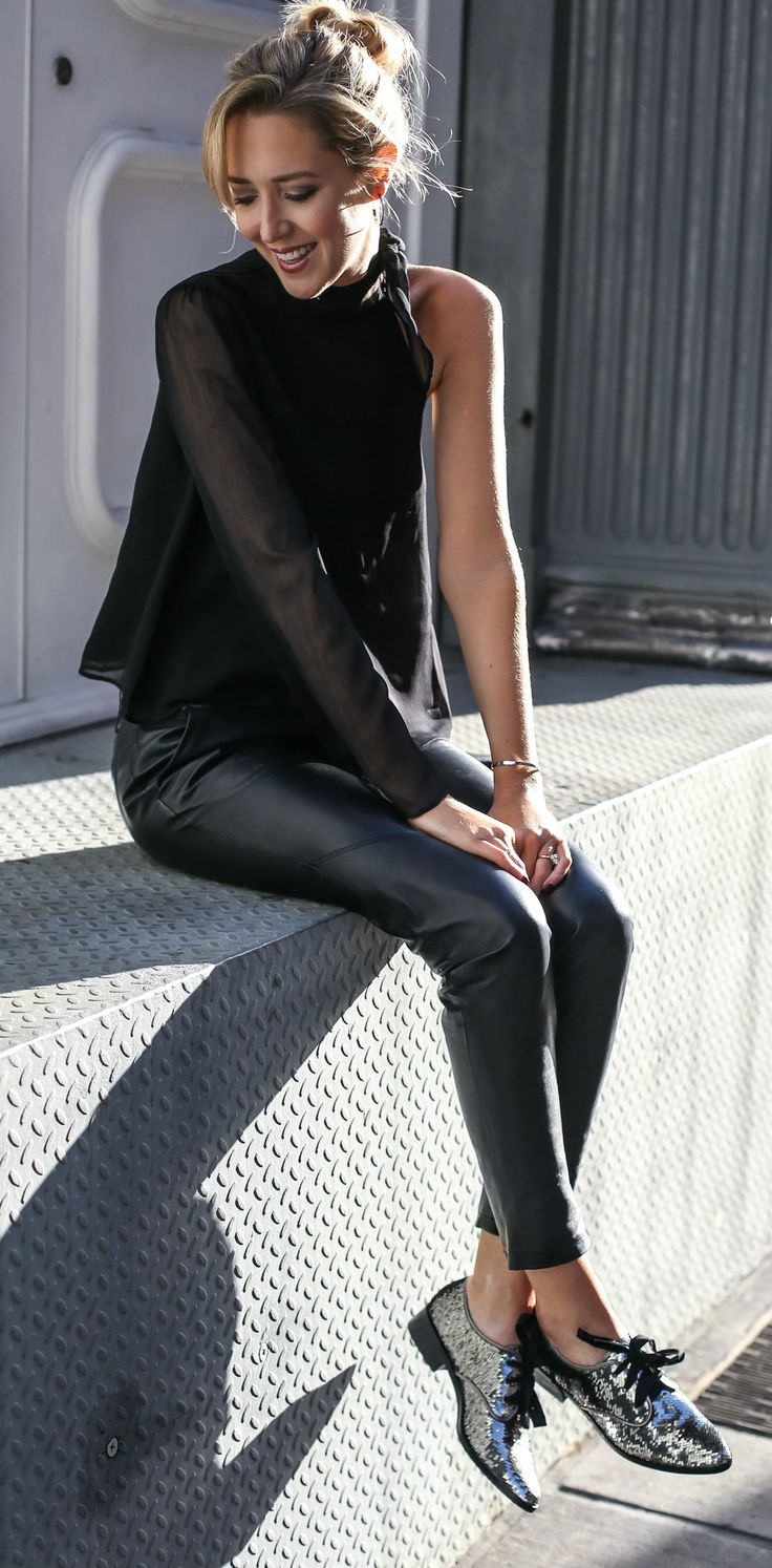leather pants, sequin glitter oxford lace up flats with grosgrain ribbon laces, one arm tie neck black blouse // perfect casual holiday or new years eve outfit