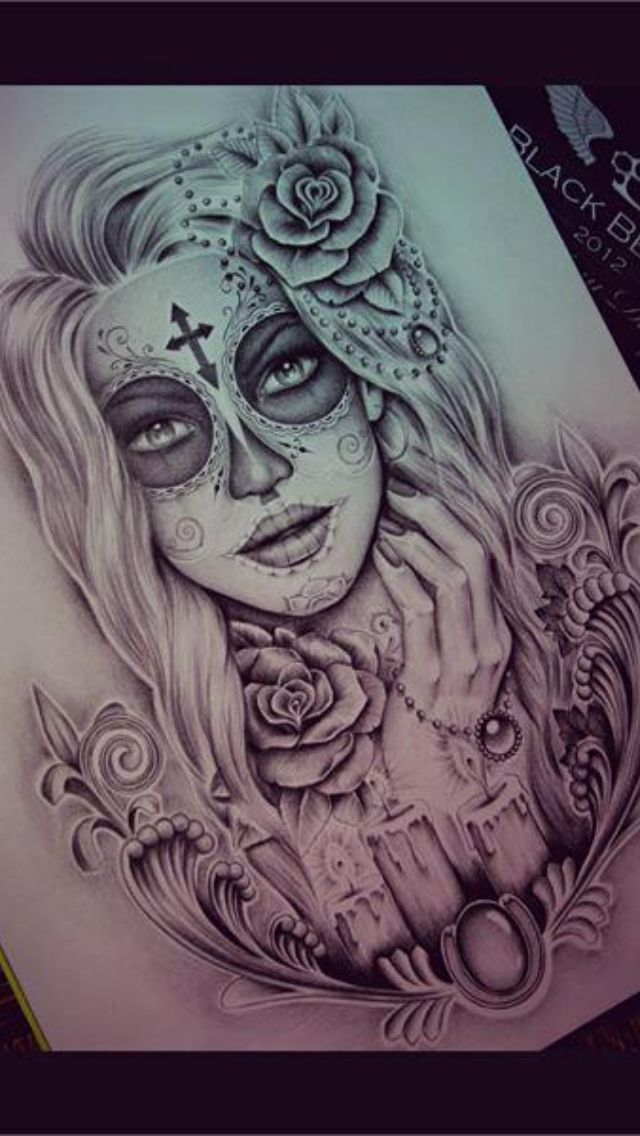 day of the dead tattoo design tattoos pinterest tattoo ideas girl drawings and design. Black Bedroom Furniture Sets. Home Design Ideas