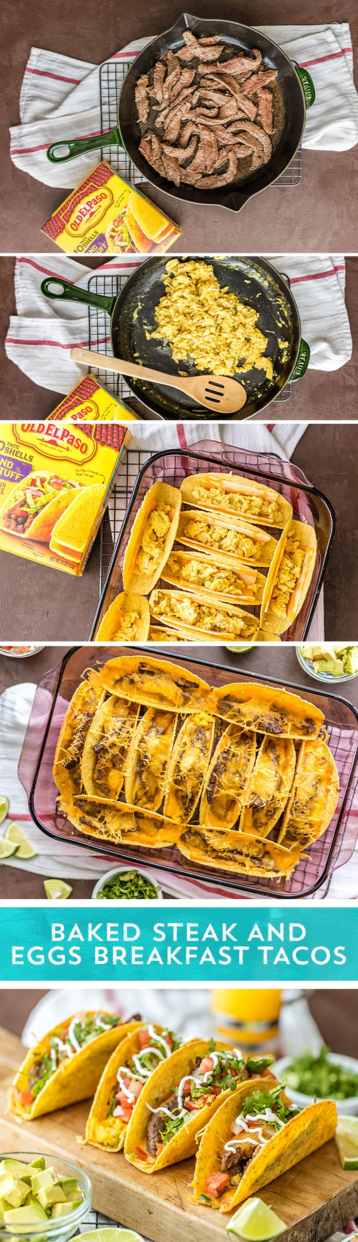 Need a fun and tasty breakfast to feed a crowd? Try these Baked Steak and Egg Tacos from @beckygallhardin! They are everything you love about a classic steak and egg breakfast, baked into the Old El Paso Stand N Stuff Tacos™ you crave! Ready in just 30 minutes - these quick and easy breakfast tacos are perfect for any morning!