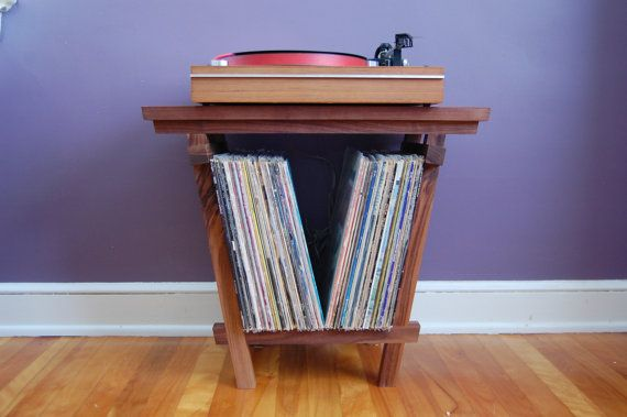 "Beautiful Solid Walnut Record Player Table and LP Holder for 12"" Vinyl LPs - Holds 70 x 12"" Vinyls - Very Nice Record Storage"