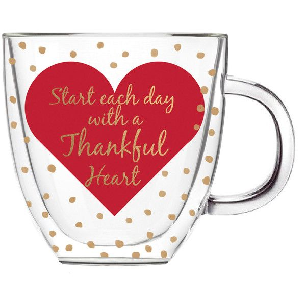 Cypress Home 'Thankful Heart' Double-Walled Glass Coffee Cup ($13) ❤ liked on Polyvore featuring home, kitchen & dining, drinkware, double wall glass coffee cups, heart shaped coffee cups, heart coffee cup, double wall coffee cups and glass drinkware