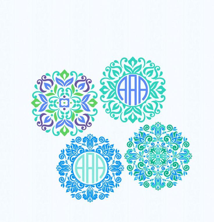 Floral Mandala Pattern Circle Monogram Frame, Indian Boho svg Spring Frames   svg dxf eps jpg svg ai png monogram Frame svg cut files by JenCraftDesigns on Etsy