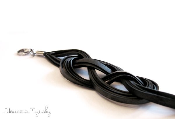 This bracelet is made of upcycled bike tube!