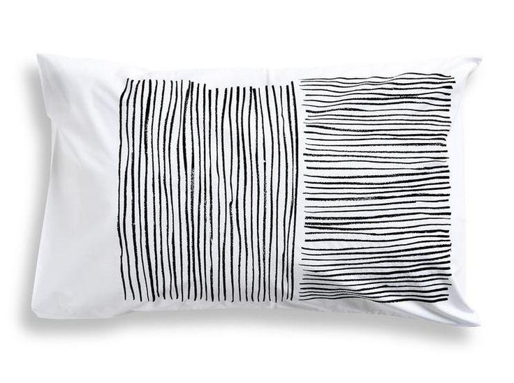 Lines Pillowcase - Black, Navy, Peach, Yellow, Green and Orange #worthynzhomeware wwworthy.co.nz