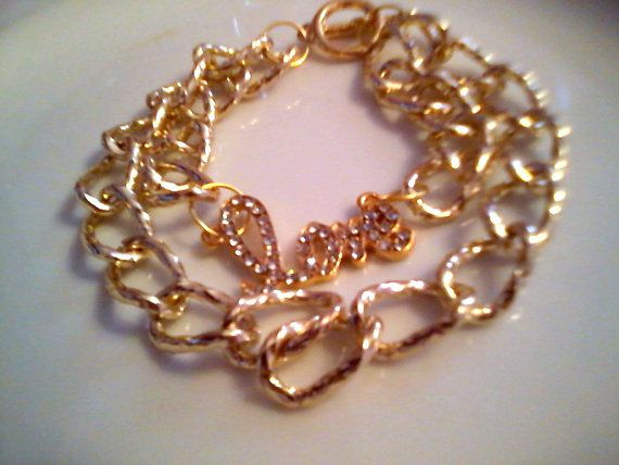 LOVE double chain bracelet gold / new by KaterinakiJewelry on Etsy, $8.50
