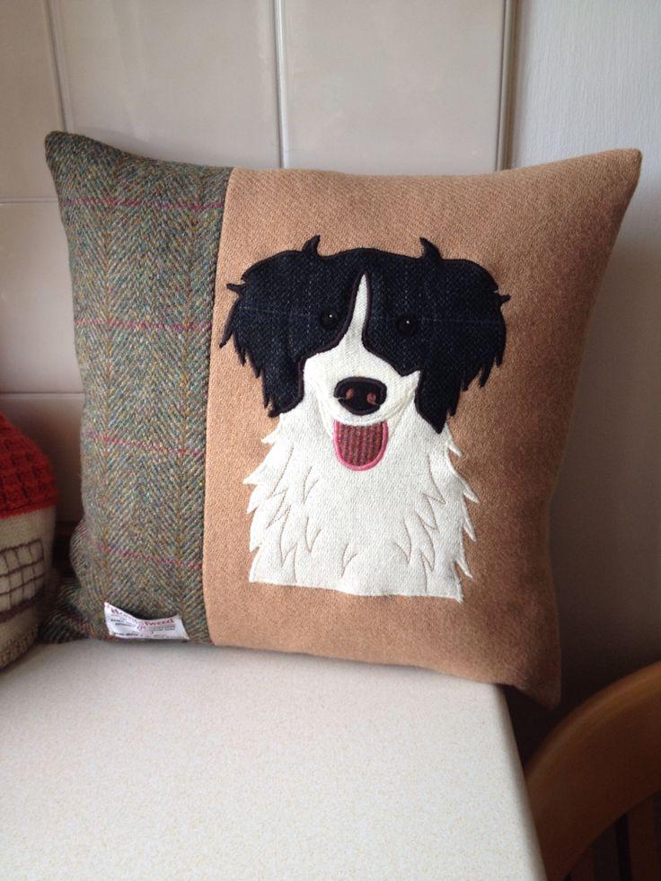 Springer Spaniel Applique Harris Tweed cushion.