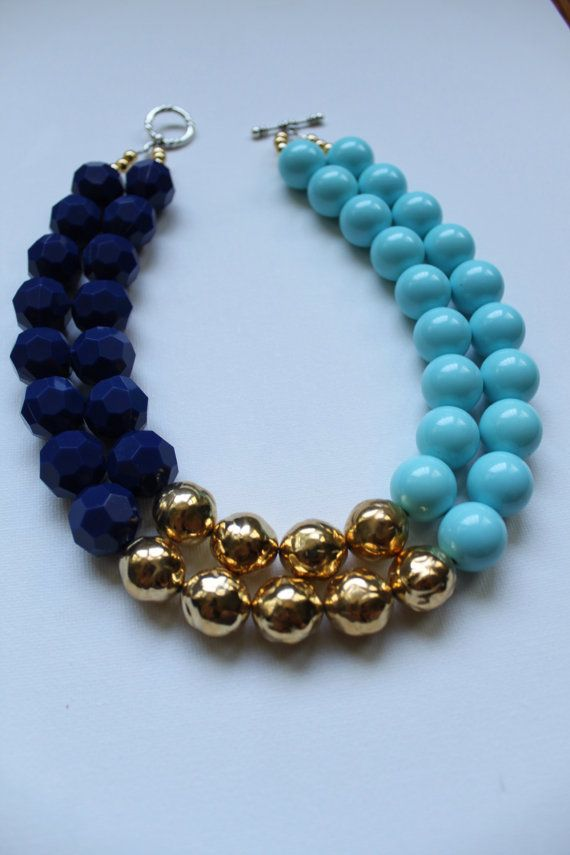 The Chelsea color block navy pastel blue and gold by ZolieDesigns
