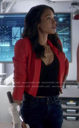 Iris's red cropped jacket on The Flash.  Outfit Details: http://wornontv.net/52699/ #TheFlash