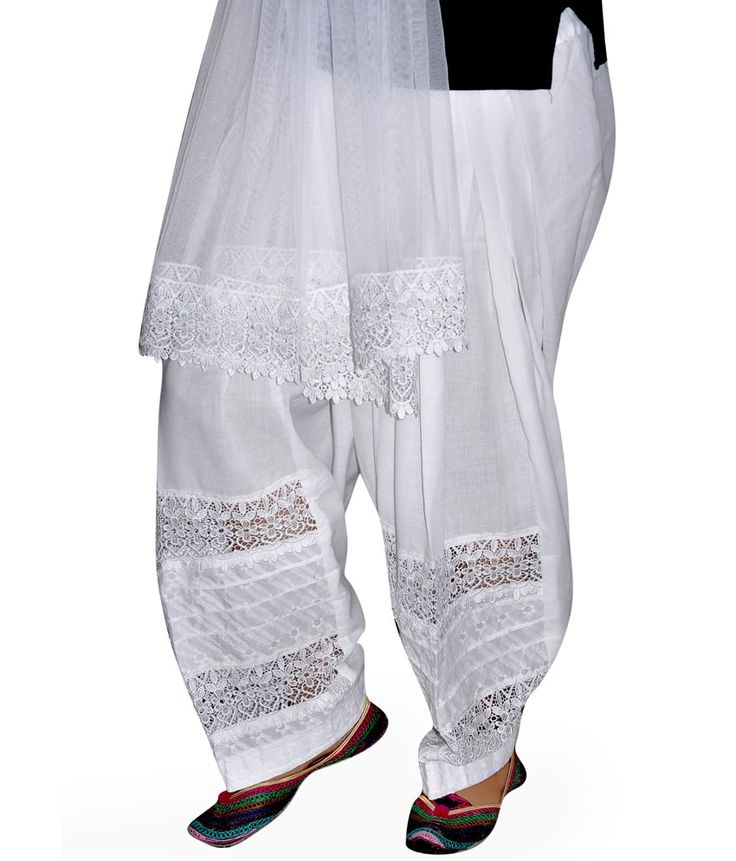 Sajja Lacework White Patiala Salwar With Dupatta - http://weddingcollections.co.in/product/sajja-lacework-white-patiala-salwar-dupatta/