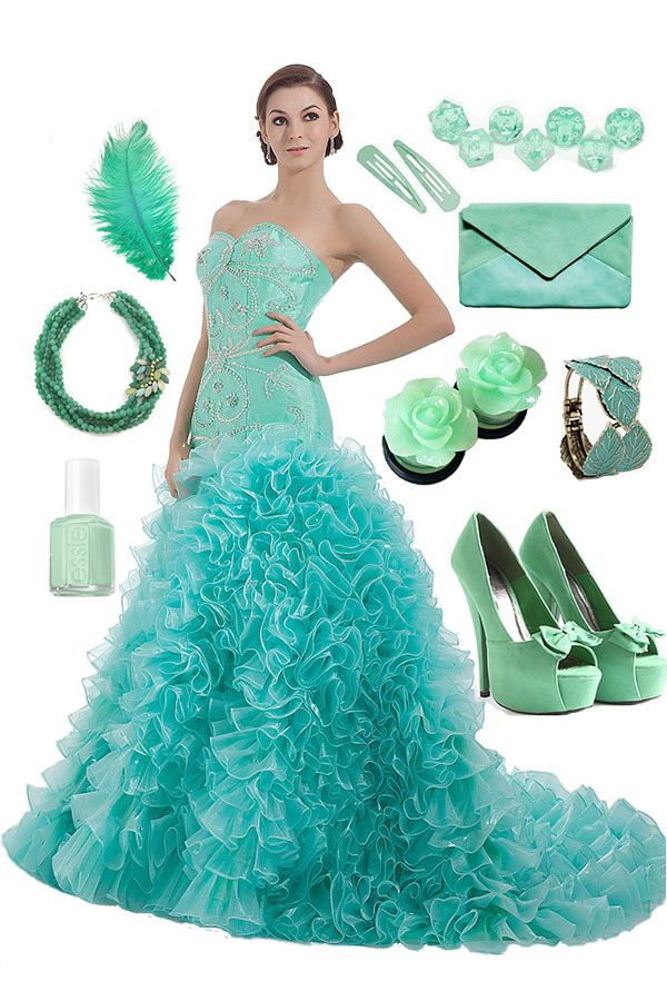Mint Mermaid Lace Dress -- Cherishdress Please click to http://www.cherishdress.com/