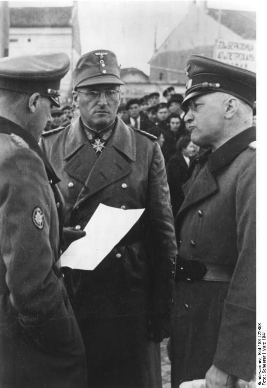 "Generaloberst Ferdinand Schörner (center) a die-hard Nazi, was the last field marshal named by Hitler before his suicide and, briefly, the last chief of the German army. After the war, he was imprisoned in the USSR to serve a 25-year sentence, but he was released in 1955. Known as ""bloody Ferdinand"" and ""Hitler's most brutal field marshal,"" Schorner was briefly jailed in Germany too and died in 1973."