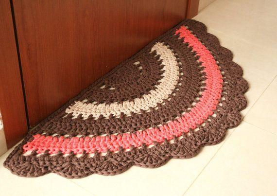 READY TO SHIP! Crochet boho half rug, rustic half rug, cotton floor rug made in…