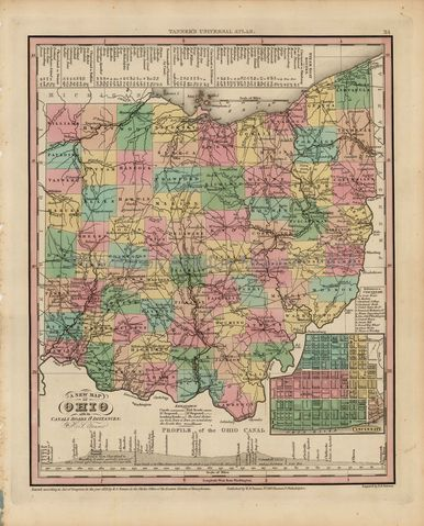 antique map of Ohio comes from the New Universal Atlas H.S. Tanner 1836 vintage map of Ohio
