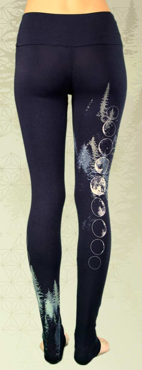 Bamboo Yoga Leggings. Avalon series. Sacred geometry, frosty forest of trees, moon goddess phases adorn these organic black leggings.