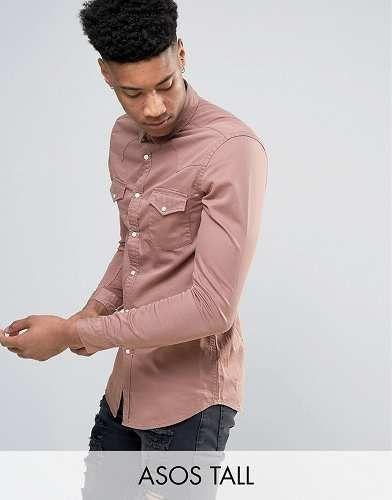 Prezzi e Sconti: #Asos tall camicia di jeans skinny rosa taglia Xxxxlsm  ad Euro 33.99 in #Asos #Male per prodotto camicie