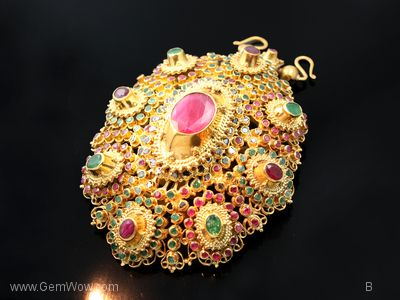 Thai Antique Jewelry Gold Plate with Diamond,ruby and Emerald Buy Gemstone, loose stone, colorstone