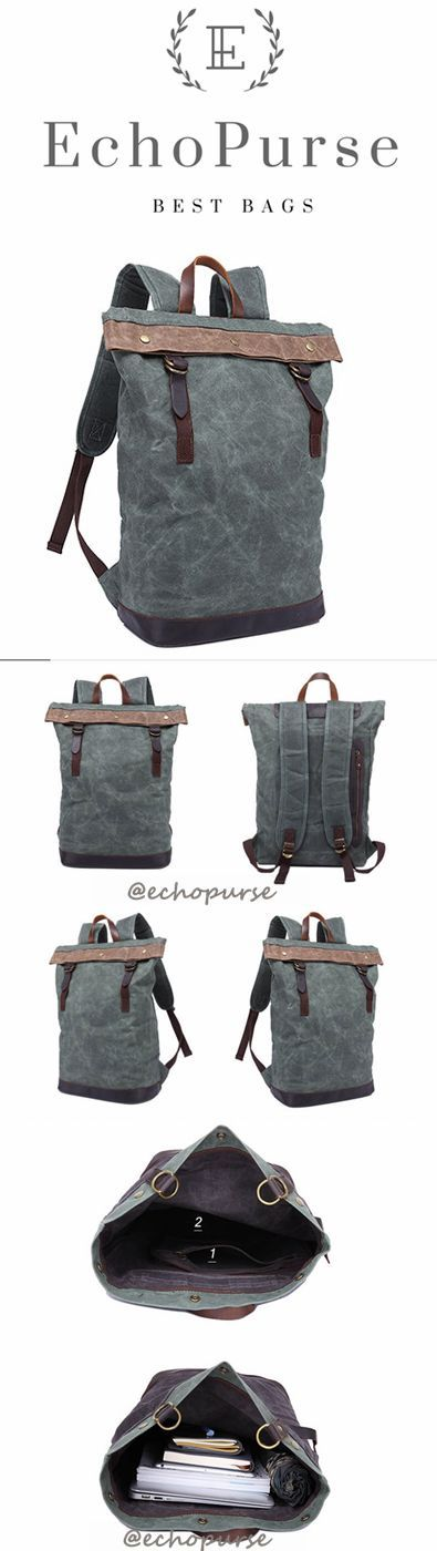 Oil Wax Leather And Canvas Backpack, Cyan Vintage Waterproof Travel Backpack YD325