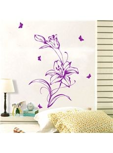 Wonderful Line Sketch Lily Removable Wall Sticker