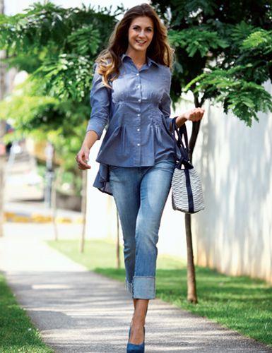 Con estilo y alegría, los <strong> pantalones con una barra inclinada </ strong> forma la mirada romántica
