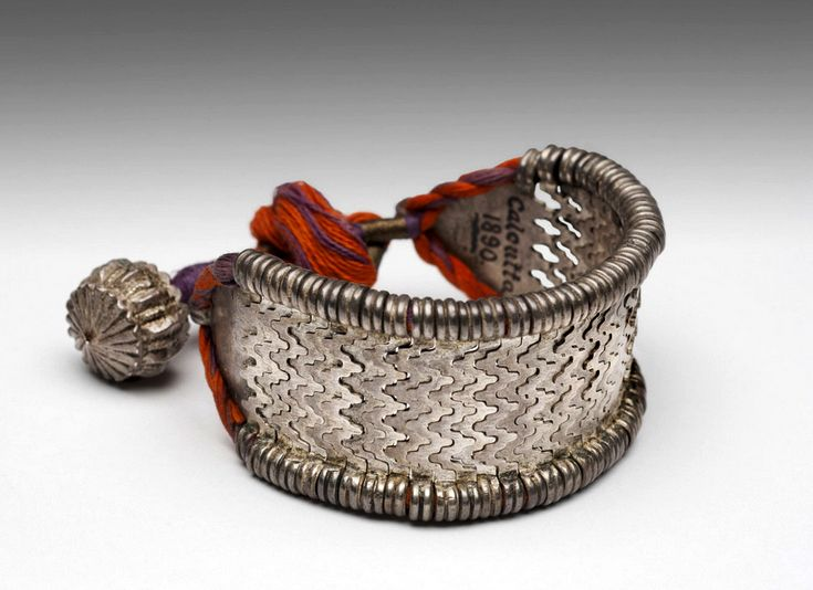 India | Bracelet; silver and cord | 19th century #India #Indian