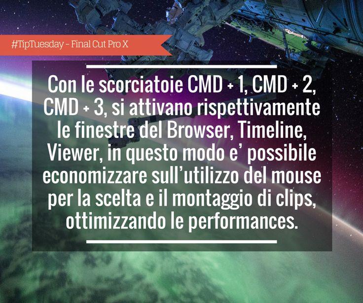 #TipTuesday - Giorgio Lovecchio: Con le scorciatoie CMD + 1, CMD + 2, CMD + 3, si attivano rispettivamente le finestre del Browser, Timeline, Viewer, in questo modo e' possibile economizzare sull'utilizzo del mouse per la scelta e il montaggio di clips, ottimizzando le performances.