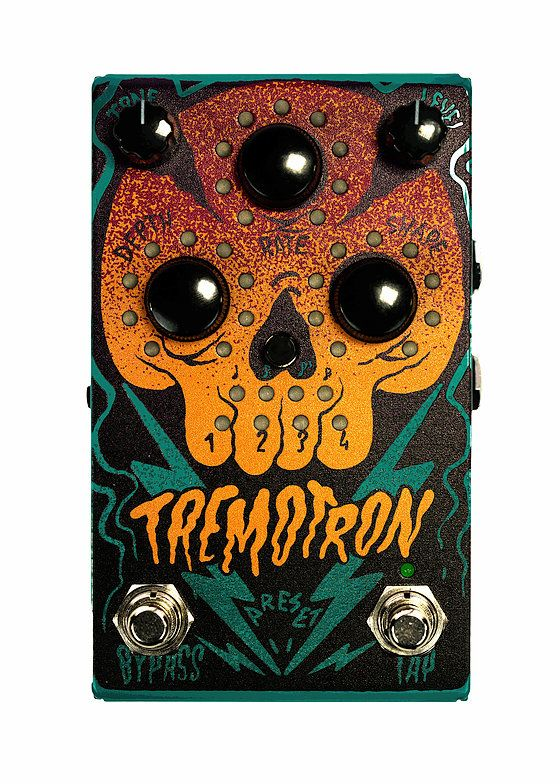 The Tremotron is a digitally controlled analog tremolo pedal allowing you to save and recall your analog settings. Its features midi and expression control.
