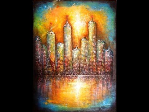 Paso a Paso Ciudad Abstracta II Óleo sobre tela y Textura. - YouTube