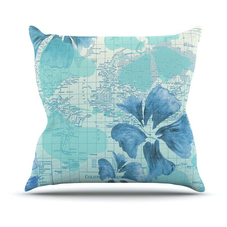 Kess InHouse Catherine Holcombe Flower Power Map Outdoor Throw Pillow Blue - CH1037COP02
