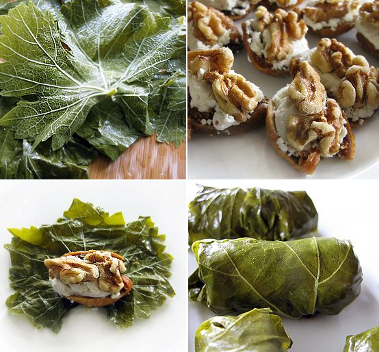 Goat cheese, fig  walnut stuffed grape leaves! yummmmyyy From Honest Fare.