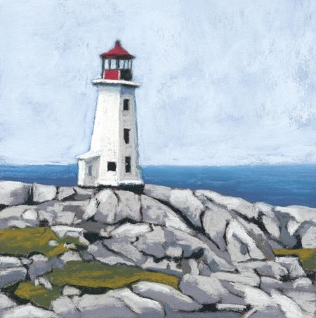 Pastel painting of Peggy's Cove lighthouse, Nova Scotia.