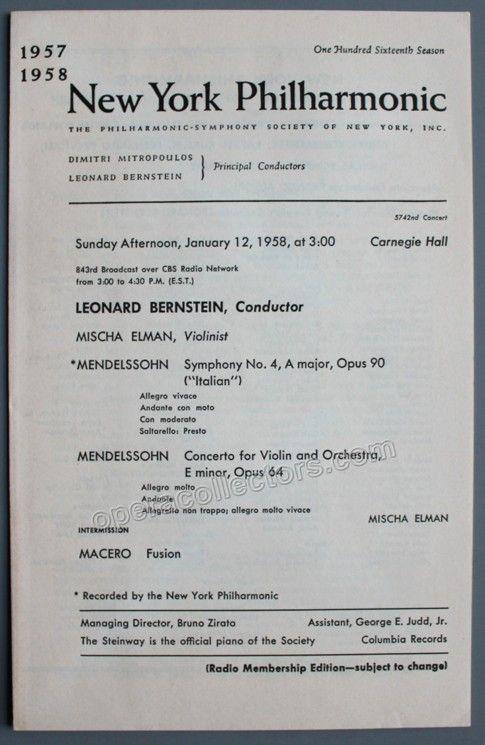 Elman, Mischa - Carnegie Hall Concert w/ Bernstein - NY Phil Program 1958