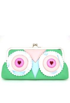 Owl Clutch Bag from HAPPY FRIDAY in green and multi_1