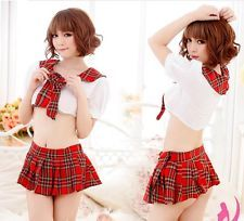 Sexy England School Girl Costume Lingerie top dress uniform Chemise outfit  B54