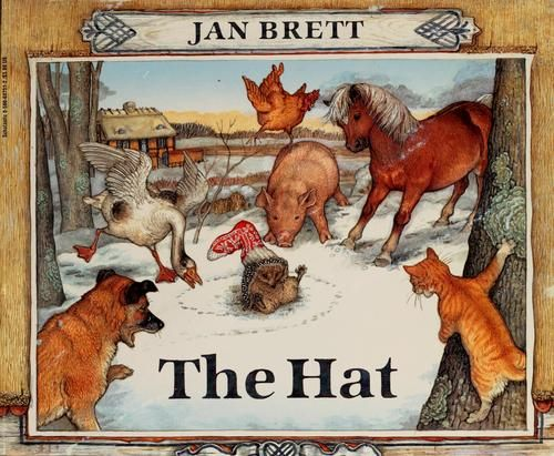 The Hat by Jan Brett. This book is a traditional Literature Folktale from a different country. This is the cutest book! It is about a hedgehog who has the misfortune of getting a wool sock stuck on his head. Everyone makes fun of him and he is embarrassed. He tells them it is warm and they all find clothes to put on. When the girl who has lost her clothing items finds her sock she pulls it off of him and he feels better! All the other animals are still wearing clothes!! Don't make fun of…