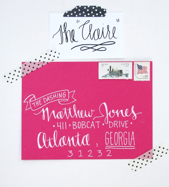 in love with this calligraphy!!  Hand Addressed Envelopes - The Claire. $2.50, via Etsy.