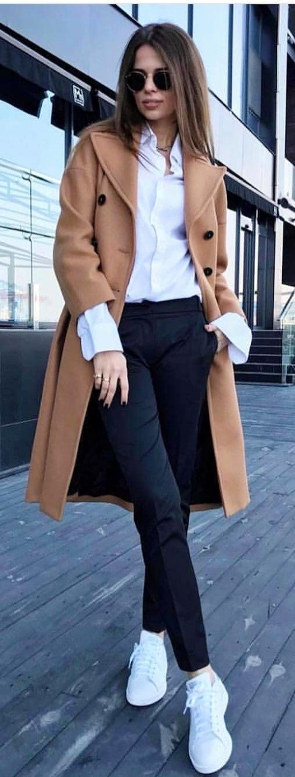 #spring #outfits woman wearing brown midi pea coat standing on wooden platform. Pic by @high_5_to_fashion