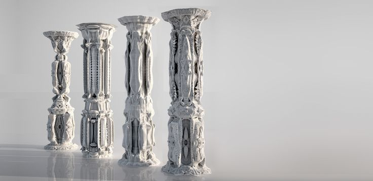 Michael Hansmeyer 'Digital Grotesque' 3D printed columns, 2010. This project involves the conception and design of a new column order based on subdivision processes. It explores how subdivision can define and embellish this column order with an elaborate system of ornament.