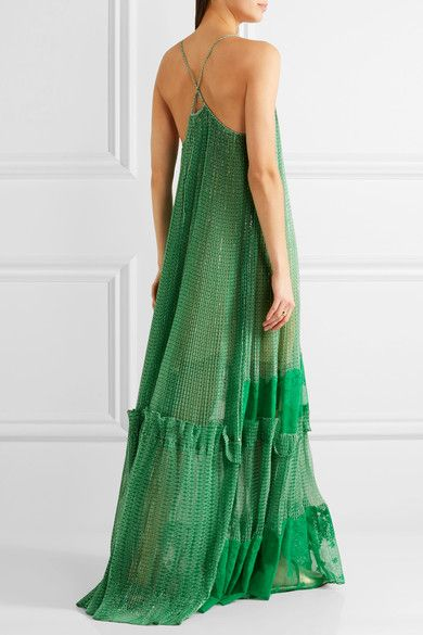 Stella McCartney - Lace-paneled Printed Silk-blend Georgette Gown - Green