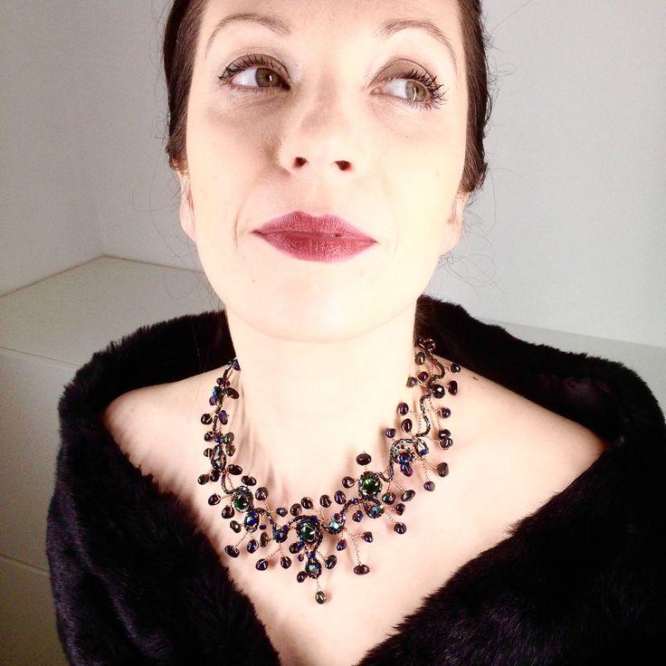 Deep emerald necklace by TrinesTreasures on Etsy