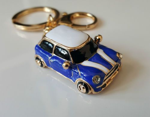 Mini-Cooper-Style-Car-Keyring-Gift-Blue-Red-Rhinestone-Detail-GRADE-B