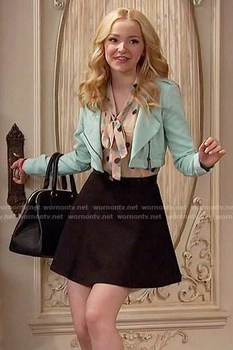 Liv's polka dot tie neck top and mint cropped jacket on Liv and Maddie.  Outfit Details: https://wornontv.net/55589/ #LivandMaddie