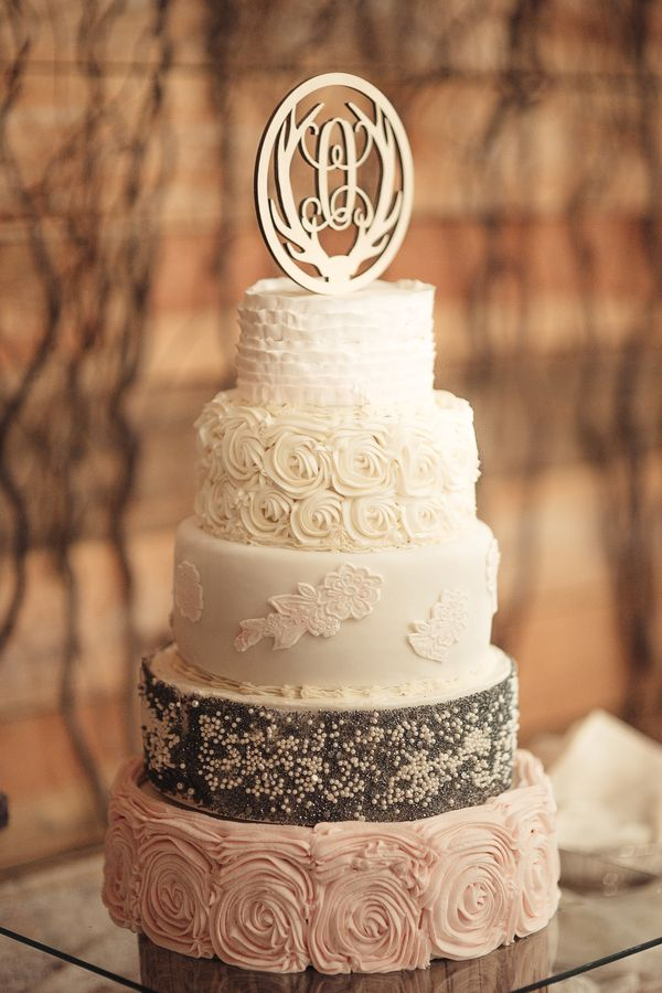Rustic Winter Wedding Cake A Pretty Pink Southern Wedding With Groom/Groomsmen in Slate Blue Photographer: Brandy Angel Photography