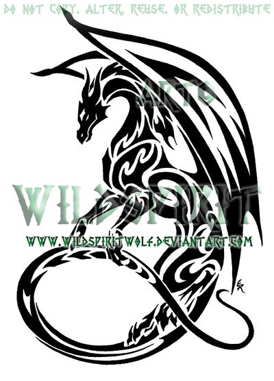 Tribal Dragon Tattoos | Maned Dragon Tribal Tattoo by ~WildSpiritWolf on deviantART
