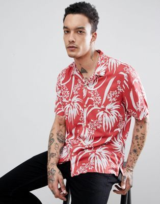 6c31c537 AllSaints short sleeve revere shirt with red floral print in 2019 ...