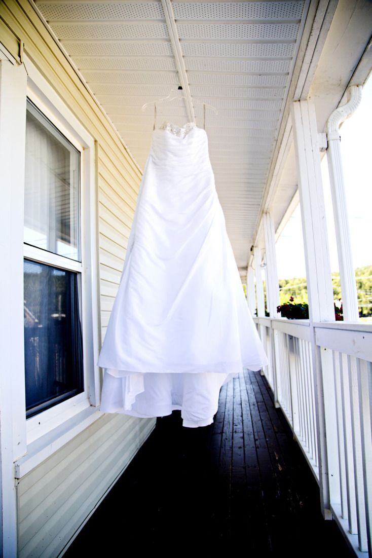 Wedding Dress Hanging on Porch ©Alicia Robichaud Photography www.arfoto.ca