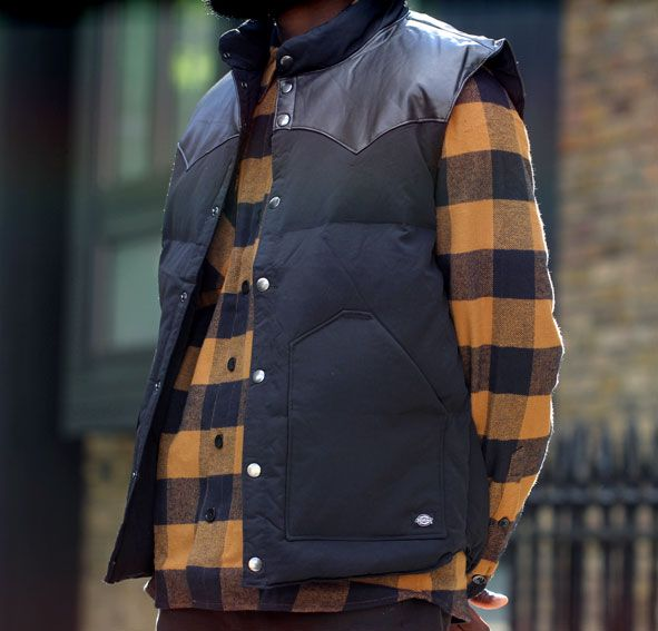 Dickies Tahoe Gilet on top of a Dickies Sacramento shirt available from http://www.everythinghiphop.com