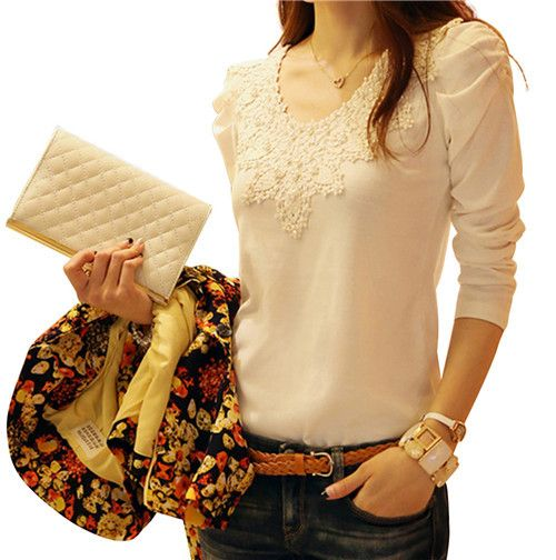 >> Click to Buy << Autumn Fashion Women Solid Cotton long Sleeve Casual Shirts  Ladies Slim Office Round Collar T-shirt Slim Fit Top #Affiliate